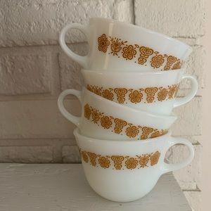 PYREX butterfly gold 4 pc set of mugs c 1972-1978